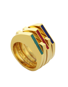 Vince Camuto...gold-Tone and multi-color enamel stacked Ring set