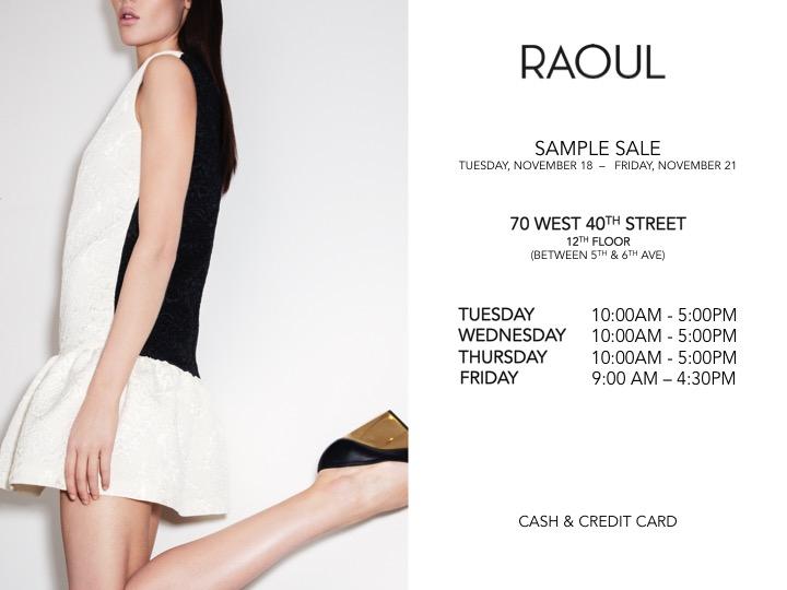 Raoul's Fall 2014 Sample Sale Has Begun! - BELLA New York Magazine